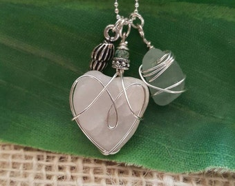 Dainty Sea Glass And Heart Stone Necklace