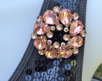 Pink Rhinestone Mid Century Pin Teardrop Rhinestones with Frosted White Glass 1950's Large Round Pink and White Rhinestone Brooch