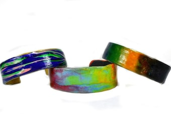 Multi- color Polymer Clay open cuff bracelet over Brass, 3 designs, choice of ONE(1), stocking stuffer,unisex  gift under 25, custom accptd