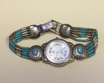 Vintage Carolyn Pollack Carlisle Sterling Turquoise Southwestern Style Watch