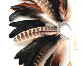Ear Cuff, Feather Ear Cuff, Feather Earrings, Tribal Ear Cuff, Hair Accessories, Hippie