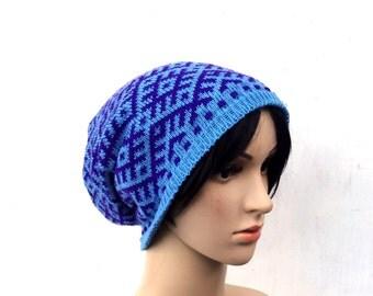 knitted hat, knit cap, blue purple slouchy, knitting tam, cloche ,faire isle hat, knit head gear, winter hat, knit wool hat, knit wear