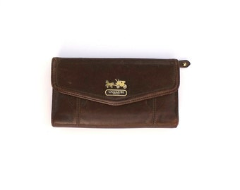 Coach brown leather Madison checkbook wallet