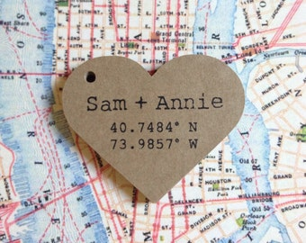 Heart Tags Personalized with Coordinates Names Initials or Quote of Your Choice Size 2 inch -  50 Kraft Brown Tags