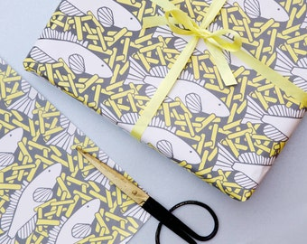 Fish and Chips Gift Wrap - Wrapping Paper - Fish print - fishing gift - fathers day gift - gift wrapping paper - gift wrapping