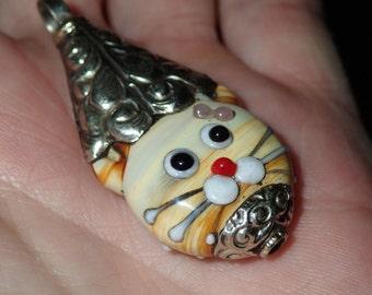 Lampwork Bead Cat Face with Repousse silverwork Pendant