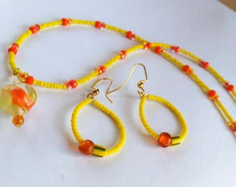 Sunny Yellow-Orange Jewelry Set Glass Necklace Earring Seed Bead Hoops