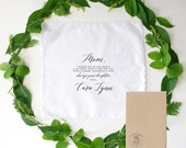 Mother of the Bride  Printed Handkerchief, a special gift for your wedding day you choice of hankie and fonts