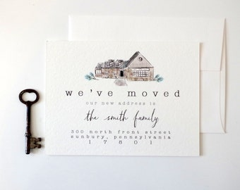 Illustrated Moving Announcement with Custom Home Portrait