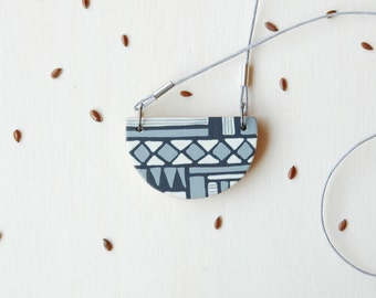 Black and white geometric necklace,hand painted wood necklace,wooden pendant, unique gift for her