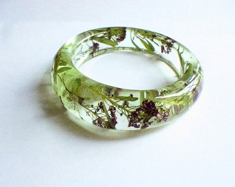 Hand Made  Purple Alyssums   Resin Bangle,Real flowers and leaf,Gift idea