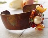 Rustic Cuff Bracelet - Beaded Cuff Bracelet - Rustic Jewelry - One of a Kind Jewelry - Brass Cuff Bracelet - Hippie Bracelet - Wide Bracelet