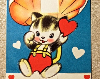 Vintage Kitten in Parachute Valentine