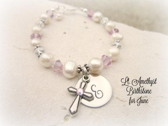 June Birthstone Bracelet.First Communion Gift.Children's