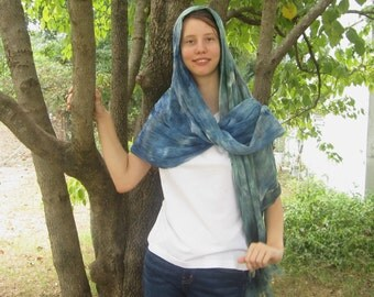 Green and Blue Shawl with Fringe, Hand Woven, Ice-Dyed
