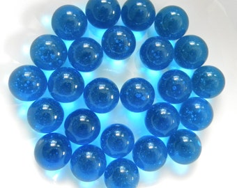 25 ROUND Glass Gems - OCEAN BLUE for Crafts - Mosaic/Wedding/Floral Displays/Vase Fillers - Round Glass Nuggets