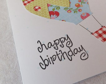 Happy Birthday Cards with Hot Air Balloons, Blank Inside