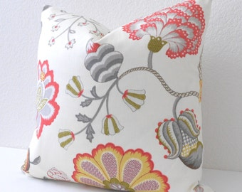 Coral pink, green and gray floral decorative pillow cover