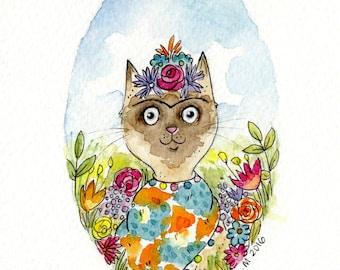 Frida Cat Watercolour Original Art