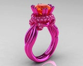 Classic 14K Fuchsia Pink Gold 3.0 Ct Orange and Light Pink Sapphire Knot Engagement Ring R390-14KFPGLPSOS