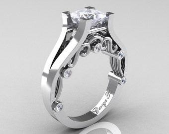 George K Classic 950 Platinum 1.25 Ct Princess Diamond Engagement Ring R361-PLATD
