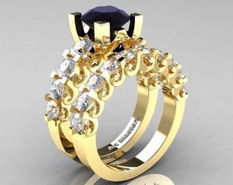 Modern Vintage 14K Yellow Gold 3.0 Ct Black Diamond White Sapphire Designer Wedding Ring Bridal Set R142S-14KYGWSBD