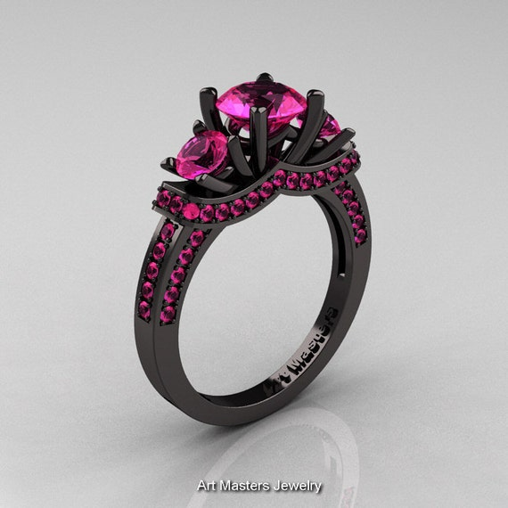French 14K Black Gold Three Stone Pink Sapphire Wedding Ring, Engagement Ring R182-14KBGPSS