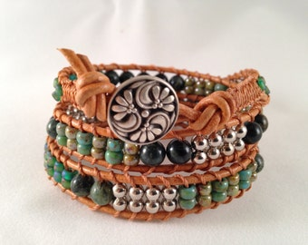 Crocodile Jasper 3-wrap Leather Bracelet