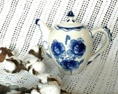 Retro Delft Blue Teapot From Holland - Vintage Cobalt Blue Floral Coffee Pot, Tea / Coffee China Serving Ware, Teapot Collecting, Home Decor
