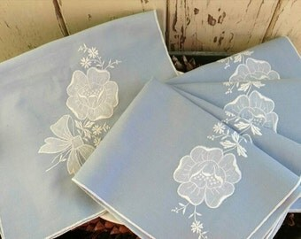 Retro Blue Table Linens - Vintage Powder Blue + White Rose Dinner Napkins With Matching Table Runner, Spring Table Linens, Soft Blue Napkins