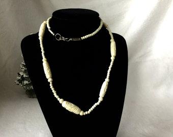 Necklace, Carved Bone Necklace, Vintage Carved Bone Necklace, Ivory Colored Necklace