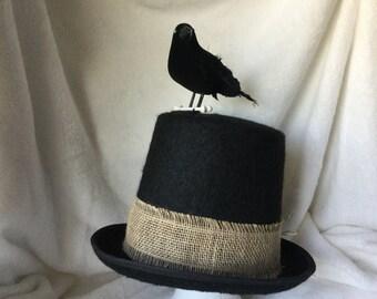 Hat,Halloween,Bird Tophat, Weird Tophat, Costume Hat, Scruffy Bird Tophat, Bird With Bone Tophat, Party Tophat, Black Tophat