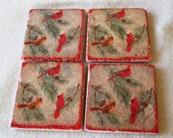 Cardinal Coasters,  Christmas Coasters -  Tumbled Marble Coasters - Tile Coasters - Drinkware - Gift
