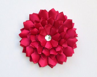Wall Flower, Hot Pink, Fuchsia Satin Wall Art, Wall Hanging, Wall Art, 3D Flower Art, Wall Decor