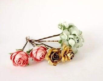 Mint, Pink and Gold Flower Hair Pins, Floral Hair Clip, Bridesmaids. Bridal, Summer, Spring, Weddings, Bridal, Hair Accessories, Floral