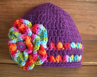 Girls Hat Crochet Hat Kids Accessories Girl Beanie Hat Cloche in Dark Purple with Multicolor Crochet flower by creationsbyellyn