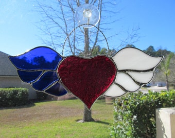 "Patriotic Winged Heart, Finished Size  ""10.5 x 5""  - Authentic Stained Glass - Larger Sized - Silver Finish"