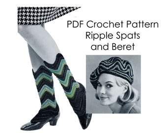 PDF Vintage Spats and Beret Ripple Crochet Pattern 1960s Hats Faux Boots Stripes Chevron Accessories Instant Download Pattern