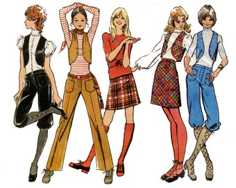 1970s Boho Knickers, Bolero, Skirt and Pants Pattern Hip Hugger Womens Pants A Line Skirt Simplicity 9566 Waist 29 Vintage Sewing Pattern