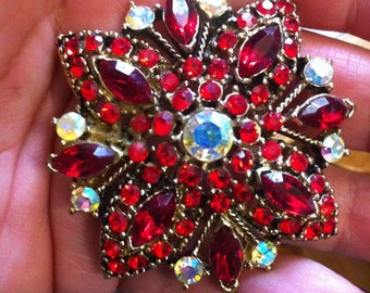 Garnet Red faceted Crystal Stones w Aurora Borealis Sparking Pin Brooch Xmas Christmas Vintage Large Glam Glitter