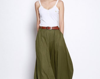 Army Green Boho Casual Bud Wide leg Linen Long Pants - NC685