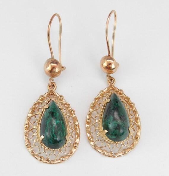 Antique Earrings Malachite Dangle Drop Earrings Vintage Estate 14K Yellow Gold