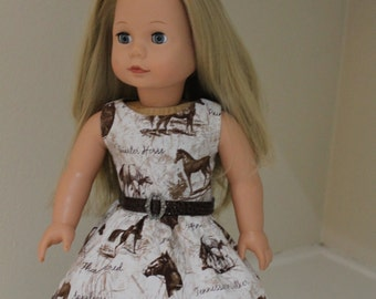 Horses adorned dress for 18 inch doll