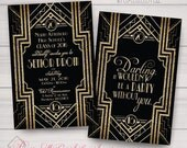 Prom, Charity, Corporate Party Invitations: Great Gatsby, Roaring 20's, Gold and Black. Samples/Printing/Digital Files Available