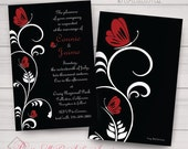 Wedding, Sweet 16, Shower, Engagement, Birthday Invitations. Butterfly, Filigry. Red, Black, Elegant, Classy. Printed/Digital/Samples avail