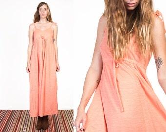 Vintage 70's Peach Empire Maxi Dress