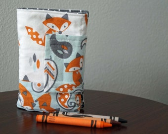 Crayon Wallet - Foxes - Crayon Holder - Crayon Roll - Gift Idea - Travel Activity - Creative Kids