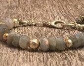 Labradorite - Pyrite - Sterling Silver - Beaded Boho Bracelet - Rustic handcrafted beaded jewelry - Sundance Style