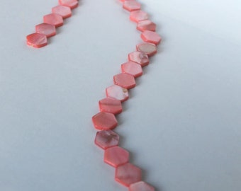 Mother-of-pearl beads, jewelry supplies, beading supplies, coral beads, hexagon beads, geometric beads, pink beads, natural beads