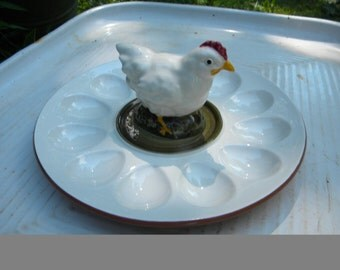 great shape clean vintage STANGL POTTERY CHICKEN deviled egg plate